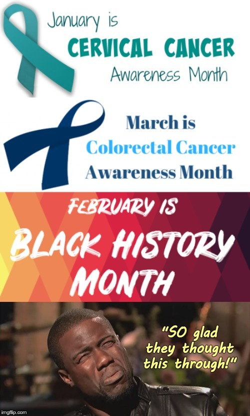 "And the Genius Award goes to ... | January is CERVICAL CANCER Awareness Month. March is Colorectal Cancer Awareness Month. FEBRUARY IS BLACK HISTORY MONTH. ""SO glad they thoug 