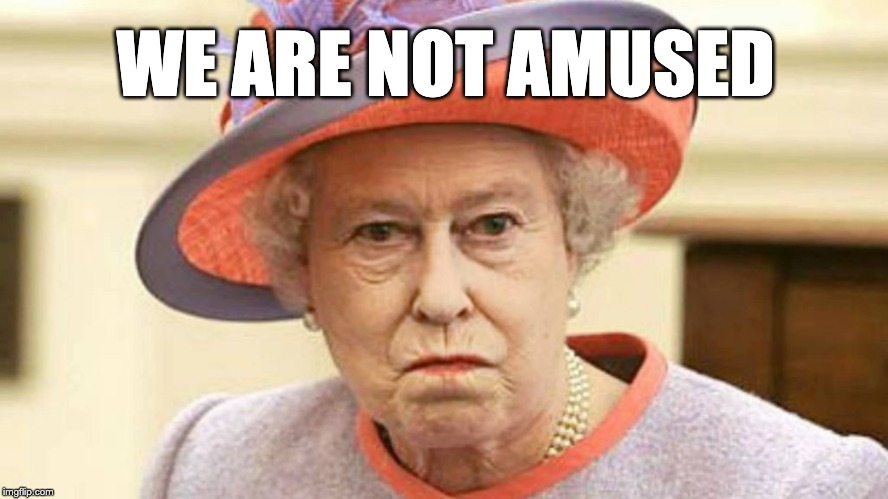 Queen Elizabeth II |  WE ARE NOT AMUSED | image tagged in queen elizabeth ii | made w/ Imgflip meme maker