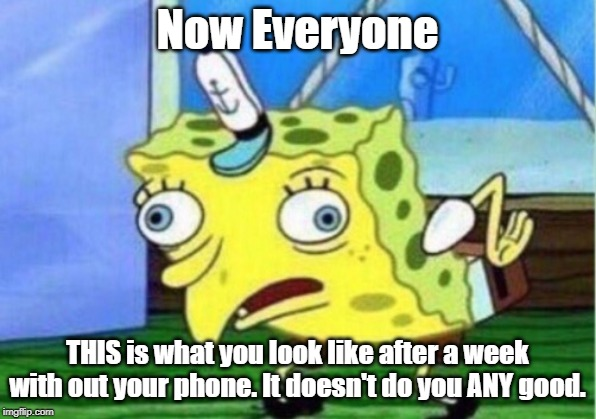 Mocking Spongebob |  Now Everyone; THIS is what you look like after a week with out your phone. It doesn't do you ANY good. | image tagged in memes,mocking spongebob | made w/ Imgflip meme maker