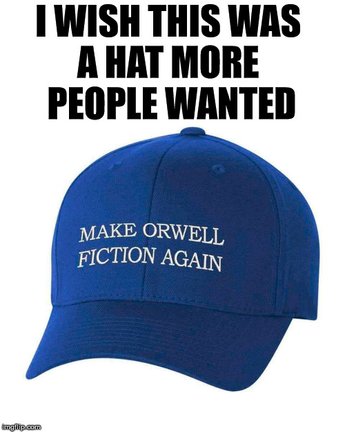 Not the year 1984, but the book. | I WISH THIS WAS  A HAT MORE  PEOPLE WANTED | image tagged in 1984,george orwell,hat | made w/ Imgflip meme maker