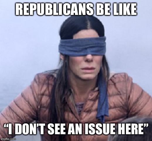 "birdbox | REPUBLICANS BE LIKE ""I DON'T SEE AN ISSUE HERE"" 
