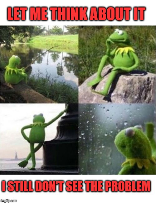 blank kermit waiting | LET ME THINK ABOUT IT I STILL DON'T SEE THE PROBLEM | image tagged in blank kermit waiting | made w/ Imgflip meme maker
