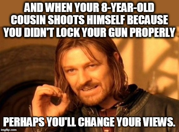 AND WHEN YOUR 8-YEAR-OLD COUSIN SHOOTS HIMSELF BECAUSE YOU DIDN'T LOCK YOUR GUN PROPERLY PERHAPS YOU'LL CHANGE YOUR VIEWS. | image tagged in memes,one does not simply | made w/ Imgflip meme maker