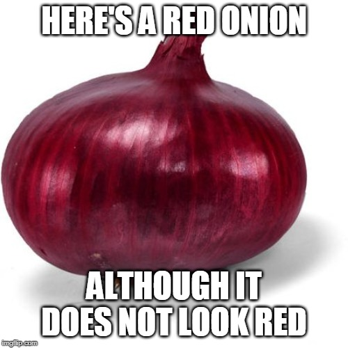 Red onion |  HERE'S A RED ONION; ALTHOUGH IT DOES NOT LOOK RED | image tagged in red onion | made w/ Imgflip meme maker