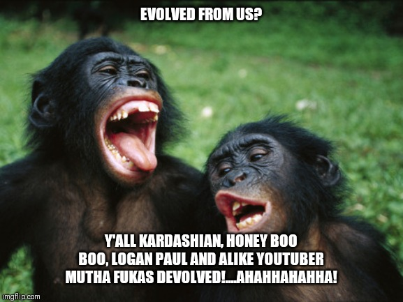 Bonobo Lyfe |  EVOLVED FROM US? Y'ALL KARDASHIAN, HONEY BOO BOO, LOGAN PAUL AND ALIKE YOUTUBER MUTHA FUKAS DEVOLVED!....AHAHHAHAHHA! | image tagged in memes,bonobo lyfe | made w/ Imgflip meme maker