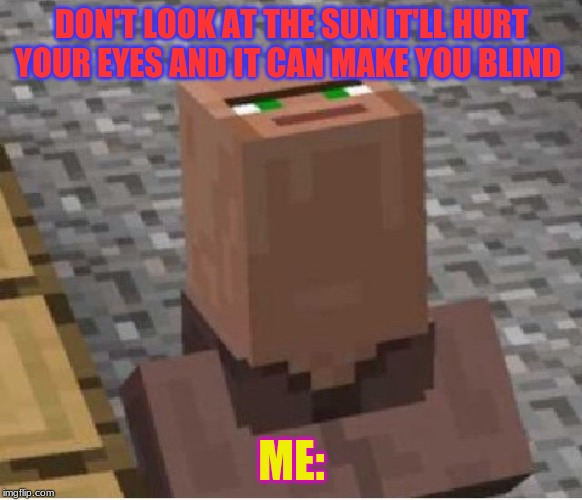 Minecraft Villager Looking Up |  DON'T LOOK AT THE SUN IT'LL HURT YOUR EYES AND IT CAN MAKE YOU BLIND; ME: | image tagged in minecraft villager looking up | made w/ Imgflip meme maker