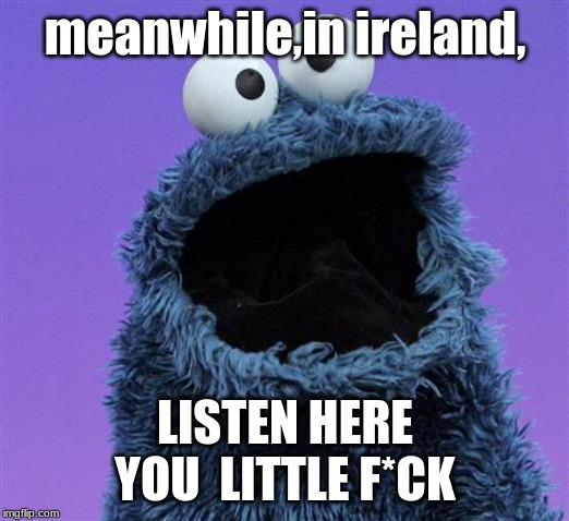 cookie monster | meanwhile,in ireland, LISTEN HERE YOU  LITTLE F*CK | image tagged in cookie monster | made w/ Imgflip meme maker