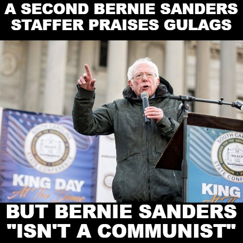 "But Donald Trump is the enemy. | A SECOND BERNIE SANDERS STAFFER PRAISES GULAGS BUT BERNIE SANDERS ""ISN'T A COMMUNIST"" 