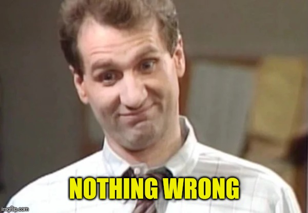 Al Bundy Yeah Right | NOTHING WRONG | image tagged in al bundy explains | made w/ Imgflip meme maker