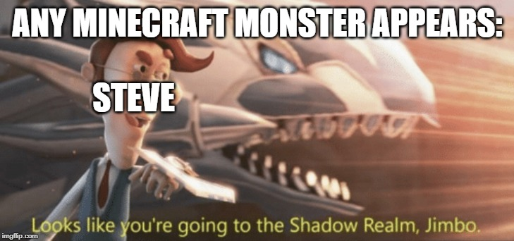 Looks like you're going to the shadow realm jimbo |  ANY MINECRAFT MONSTER APPEARS:; STEVE | image tagged in looks like youre going to the shadow realm jimbo | made w/ Imgflip meme maker