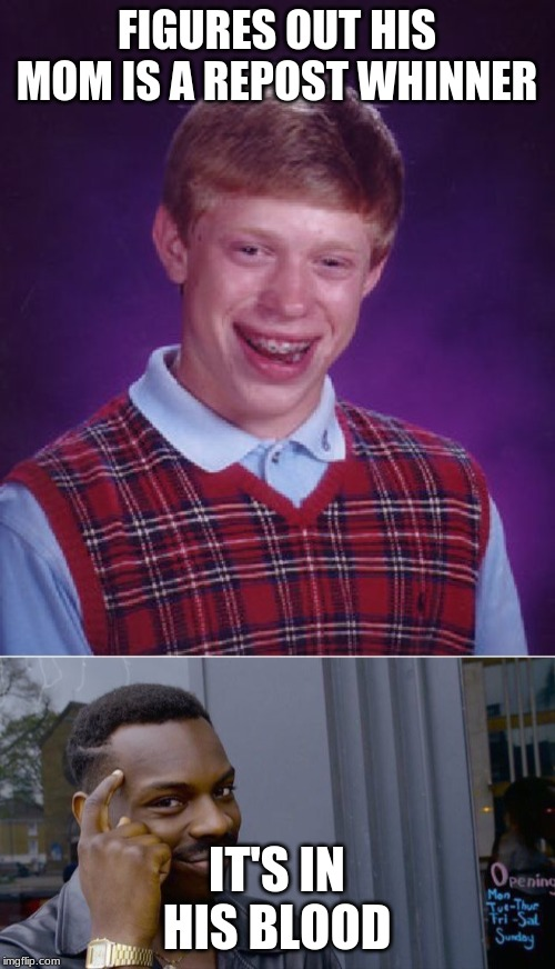 FIGURES OUT HIS MOM IS A REPOST WHINNER IT'S IN HIS BLOOD | image tagged in memes,bad luck brian,roll safe think about it | made w/ Imgflip meme maker