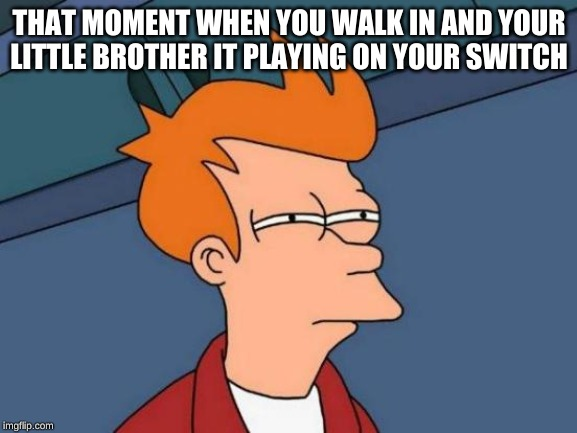 Futurama Fry Meme | THAT MOMENT WHEN YOU WALK IN AND YOUR LITTLE BROTHER IT PLAYING ON YOUR SWITCH | image tagged in memes,futurama fry | made w/ Imgflip meme maker