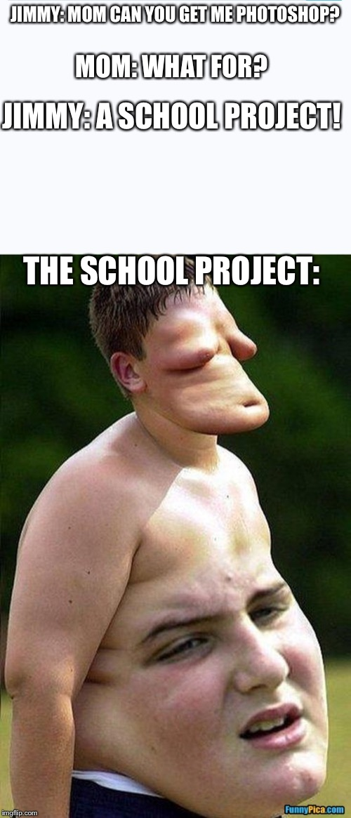 Photoshop + little kids = disasters |  JIMMY: MOM CAN YOU GET ME PHOTOSHOP? MOM: WHAT FOR? JIMMY: A SCHOOL PROJECT! THE SCHOOL PROJECT: | image tagged in funny,memes,funny memes,photoshop,school,school project | made w/ Imgflip meme maker