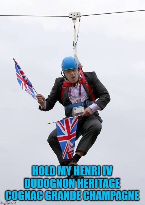 Boris Johnson Stuck | HOLD MY HENRI IV DUDOGNON HERITAGE COGNAC GRANDE CHAMPAGNE | image tagged in boris johnson stuck | made w/ Imgflip meme maker