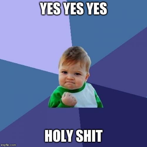Success Kid | YES YES YES HOLY SHIT | image tagged in memes,success kid | made w/ Imgflip meme maker