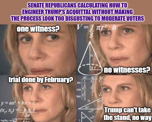 A balancing act. | SENATE REPUBLICANS CALCULATING HOW TO ENGINEER TRUMP'S ACQUITTAL WITHOUT MAKING THE PROCESS LOOK TOO DISGUSTING TO MODERATE VOTERS one witne | image tagged in confused woman,trial,fairness,witnesses,trump impeachment,mitch mcconnell | made w/ Imgflip meme maker