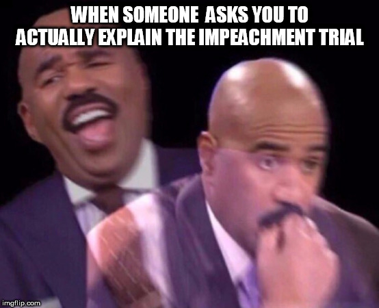 you got me |  WHEN SOMEONE  ASKS YOU TO ACTUALLY EXPLAIN THE IMPEACHMENT TRIAL | image tagged in steve harvey laughing serious,impeach trump,donald trump,2020,democrats | made w/ Imgflip meme maker