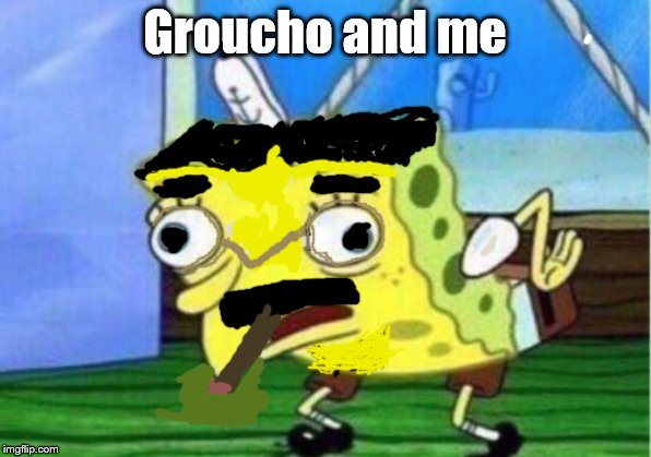 Mocking Spongebob |  Groucho and me | image tagged in memes,mocking spongebob | made w/ Imgflip meme maker