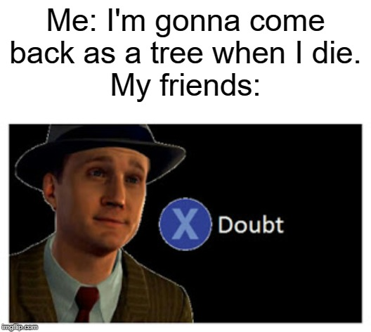 This is an inside joke in my friend group. | Me: I'm gonna come back as a tree when I die.My friends: | image tagged in press x to doubt with space,tree,die,when i die,boi | made w/ Imgflip meme maker