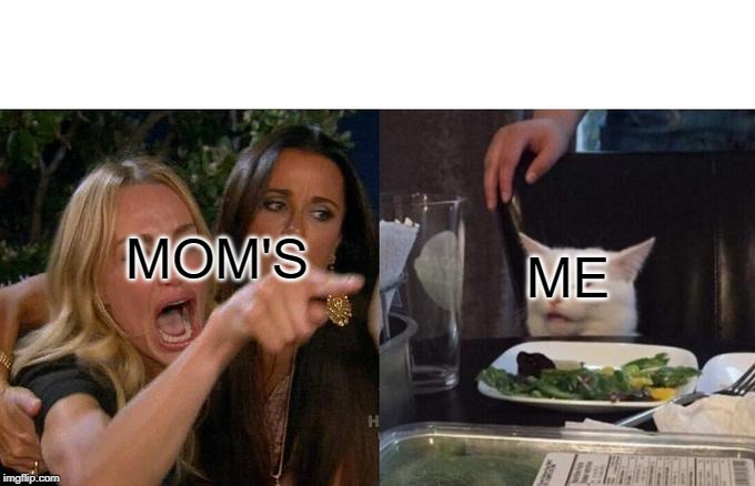 MOM'S ME | image tagged in memes,woman yelling at cat | made w/ Imgflip meme maker