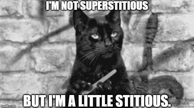 superstitious |  I'M NOT SUPERSTITIOUS; BUT I'M A LITTLE STITIOUS. | image tagged in black cat,not very superstitious | made w/ Imgflip meme maker