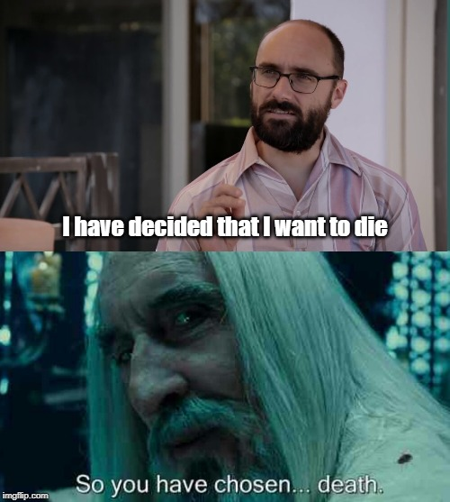 I have decided that I want to die | image tagged in so you have chosen death | made w/ Imgflip meme maker