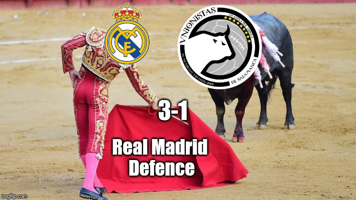 Unionistas Salamanca 1-3 Real Madrid | Real Madrid Defence 3-1 | image tagged in memes,funny,football,soccer,spain,real madrid | made w/ Imgflip meme maker