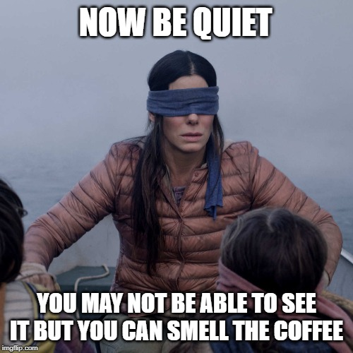 Bird Box | NOW BE QUIET YOU MAY NOT BE ABLE TO SEE IT BUT YOU CAN SMELL THE COFFEE | image tagged in memes,bird box | made w/ Imgflip meme maker