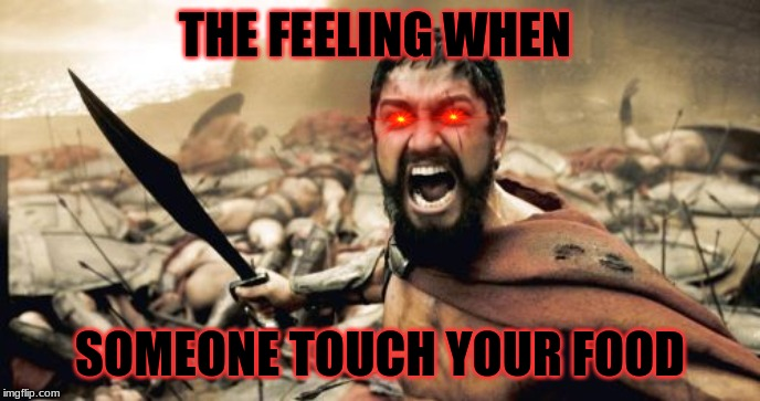 Sparta Leonidas | THE FEELING WHEN SOMEONE TOUCH YOUR FOOD | image tagged in memes,sparta leonidas | made w/ Imgflip meme maker