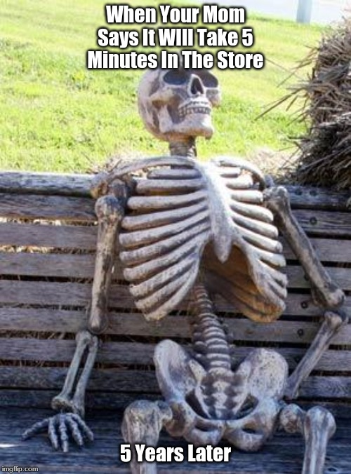 Waiting Skeleton | When Your Mom Says It WIll Take 5 Minutes In The Store 5 Years Later | image tagged in memes,waiting skeleton | made w/ Imgflip meme maker