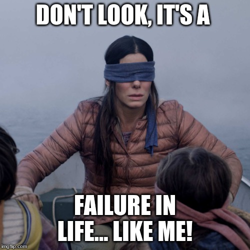 Bird Box | DON'T LOOK, IT'S A FAILURE IN LIFE... LIKE ME! | image tagged in memes,bird box | made w/ Imgflip meme maker