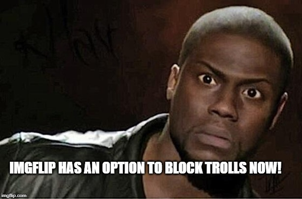 Kevin Hart | IMGFLIP HAS AN OPTION TO BLOCK TROLLS NOW! | image tagged in memes,kevin hart | made w/ Imgflip meme maker