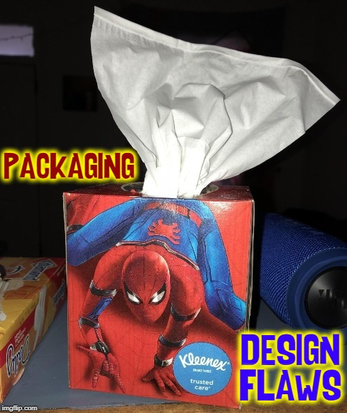 The Clean Fresh Smell of Kleenex | PACKAGING DESIGN FLAWS | image tagged in vince vance,spiderman,kleenex,tissue,design,packaging flaws | made w/ Imgflip meme maker