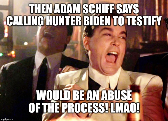 The Sham-Peachment Schiff Show Continues | THEN ADAM SCHIFF SAYS CALLING HUNTER BIDEN TO TESTIFY WOULD BE AN ABUSE OF THE PROCESS! LMAO! | image tagged in memes,good fellas hilarious,funny memes,maga,trump 2020 | made w/ Imgflip meme maker