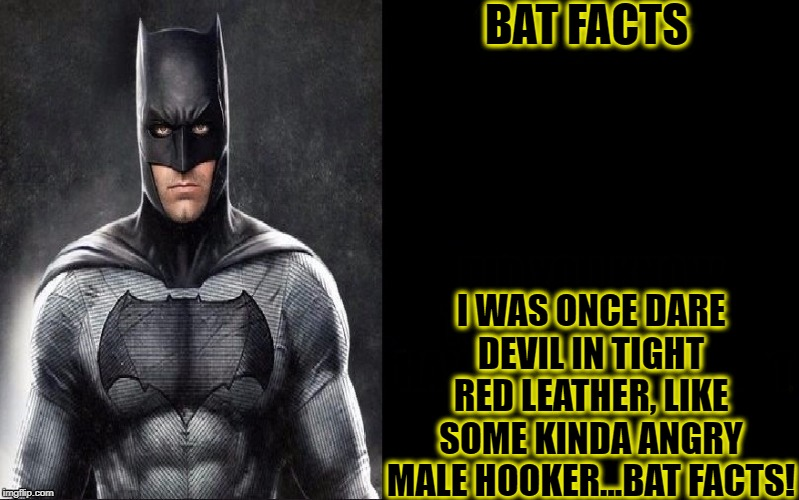BAT FACTS I WAS ONCE DARE DEVIL IN TIGHT RED LEATHER, LIKE SOME KINDA ANGRY MALE HOOKER...BAT FACTS! | image tagged in funny,batman,memes,dc comics,marvel comics | made w/ Imgflip meme maker