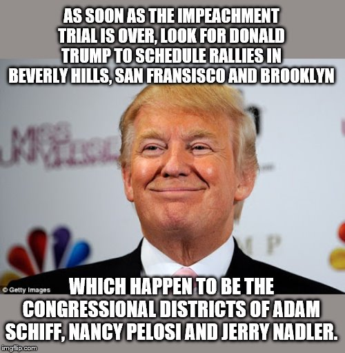 Troll Factor 10! | AS SOON AS THE IMPEACHMENT TRIAL IS OVER, LOOK FOR DONALD TRUMP TO SCHEDULE RALLIES IN BEVERLY HILLS, SAN FRANSISCO AND BROOKLYN WHICH HAPPE | image tagged in donald trump approves,democrats in trouble,nancy pelosi,adam schiff,jerry nadler | made w/ Imgflip meme maker