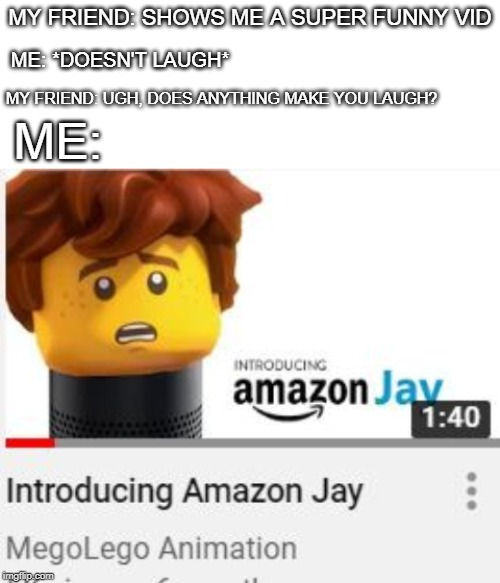 Amazon Jay hehe... |  MY FRIEND: SHOWS ME A SUPER FUNNY VID; ME: *DOESN'T LAUGH*; MY FRIEND: UGH, DOES ANYTHING MAKE YOU LAUGH? ME: | image tagged in blank white template,ninago,jay,amazon,lego | made w/ Imgflip meme maker