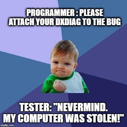 "Success Kid | PROGRAMMER : PLEASE ATTACH YOUR DXDIAG TO THE BUG TESTER: ""NEVERMIND. MY COMPUTER WAS STOLEN!"" 