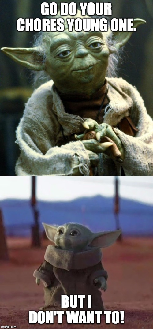GO DO YOUR CHORES YOUNG ONE. BUT I DON'T WANT TO! | image tagged in memes,star wars yoda,baby yoda | made w/ Imgflip meme maker