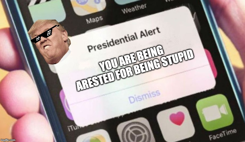 Presidential Alert | YOU ARE BEING ARESTED FOR BEING STUPID | image tagged in memes,presidential alert | made w/ Imgflip meme maker