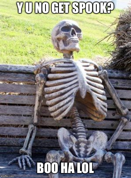 Waiting Skeleton | Y U NO GET SPOOK? BOO HA LOL | image tagged in memes,waiting skeleton | made w/ Imgflip meme maker