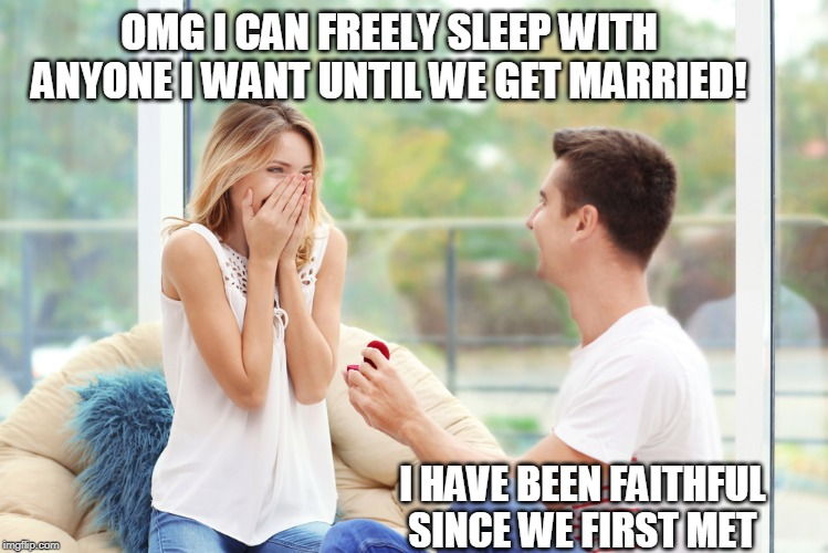 Something about this rings so true | OMG I CAN FREELY SLEEP WITH ANYONE I WANT UNTIL WE GET MARRIED! I HAVE BEEN FAITHFUL SINCE WE FIRST MET | image tagged in marriage,cheaters,mgtow | made w/ Imgflip meme maker