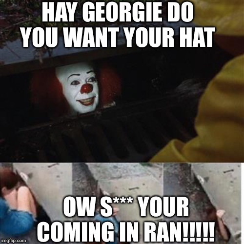 pennywise in sewer |  HAY GEORGIE DO YOU WANT YOUR HAT; OW S*** YOUR COMING IN RAN!!!!! | image tagged in pennywise in sewer | made w/ Imgflip meme maker