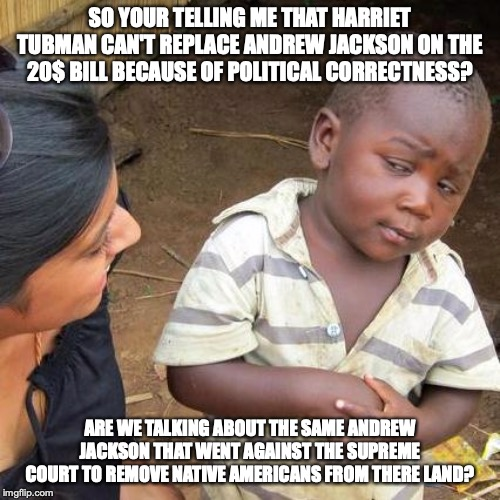 Third World Skeptical Kid | SO YOUR TELLING ME THAT HARRIET TUBMAN CAN'T REPLACE ANDREW JACKSON ON THE 20$ BILL BECAUSE OF POLITICAL CORRECTNESS? ARE WE TALKING ABOUT T | image tagged in memes,third world skeptical kid | made w/ Imgflip meme maker