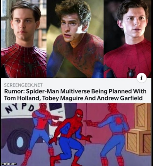 Spider-verse pre-planned? | image tagged in fun,prediction,why,spiderman | made w/ Imgflip meme maker