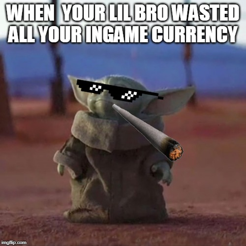 Baby Yoda | WHEN  YOUR LIL BRO WASTED ALL YOUR INGAME CURRENCY | image tagged in baby yoda | made w/ Imgflip meme maker