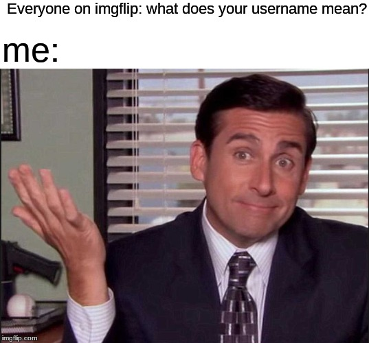 Michael Scott |  Everyone on imgflip: what does your username mean? me: | image tagged in michael scott | made w/ Imgflip meme maker