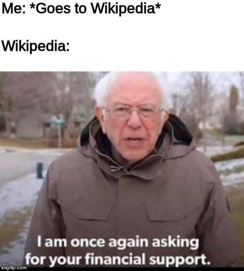 So the website can strive | Me: *Goes to Wikipedia* Wikipedia: | image tagged in bernie sanders,wikipedia | made w/ Imgflip meme maker