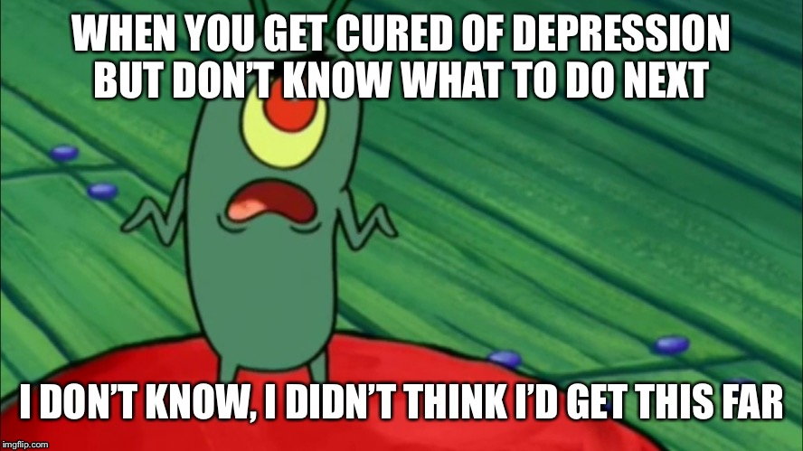 Plankton didn't think he'd get this far |  WHEN YOU GET CURED OF DEPRESSION BUT DON'T KNOW WHAT TO DO NEXT; I DON'T KNOW, I DIDN'T THINK I'D GET THIS FAR | image tagged in plankton didn't think he'd get this far | made w/ Imgflip meme maker