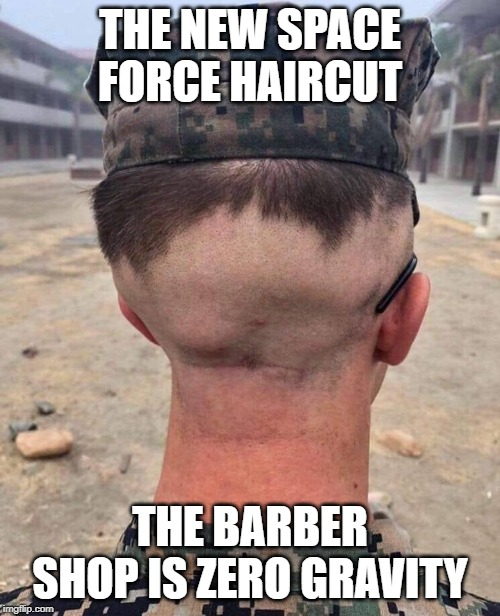 THE NEW SPACE FORCE HAIRCUT; THE BARBER SHOP IS ZERO GRAVITY | image tagged in space force,haircut,bad hair day,military | made w/ Imgflip meme maker